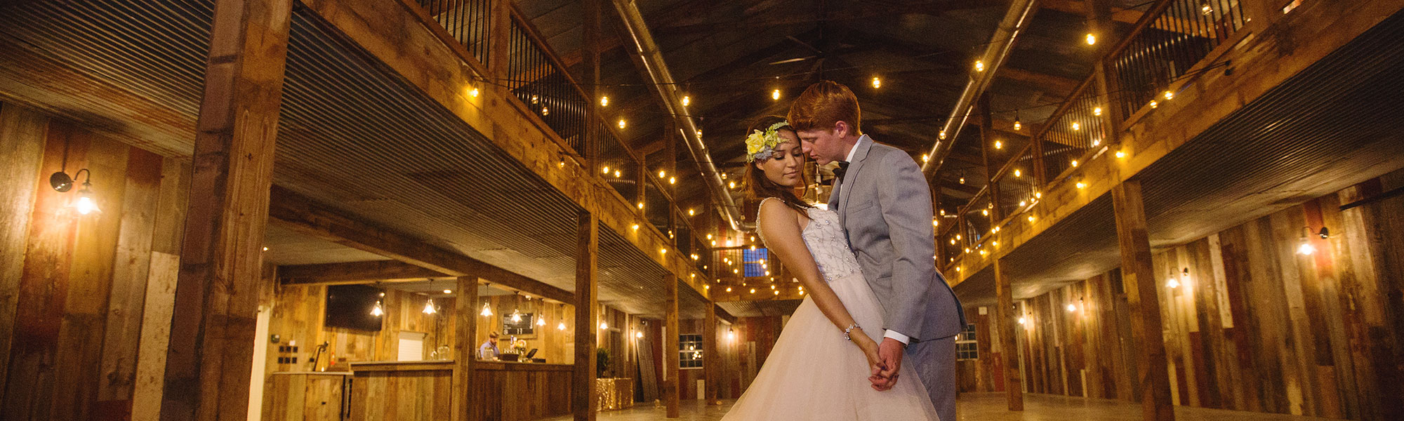 Inside wedding barn with reclaimed wood